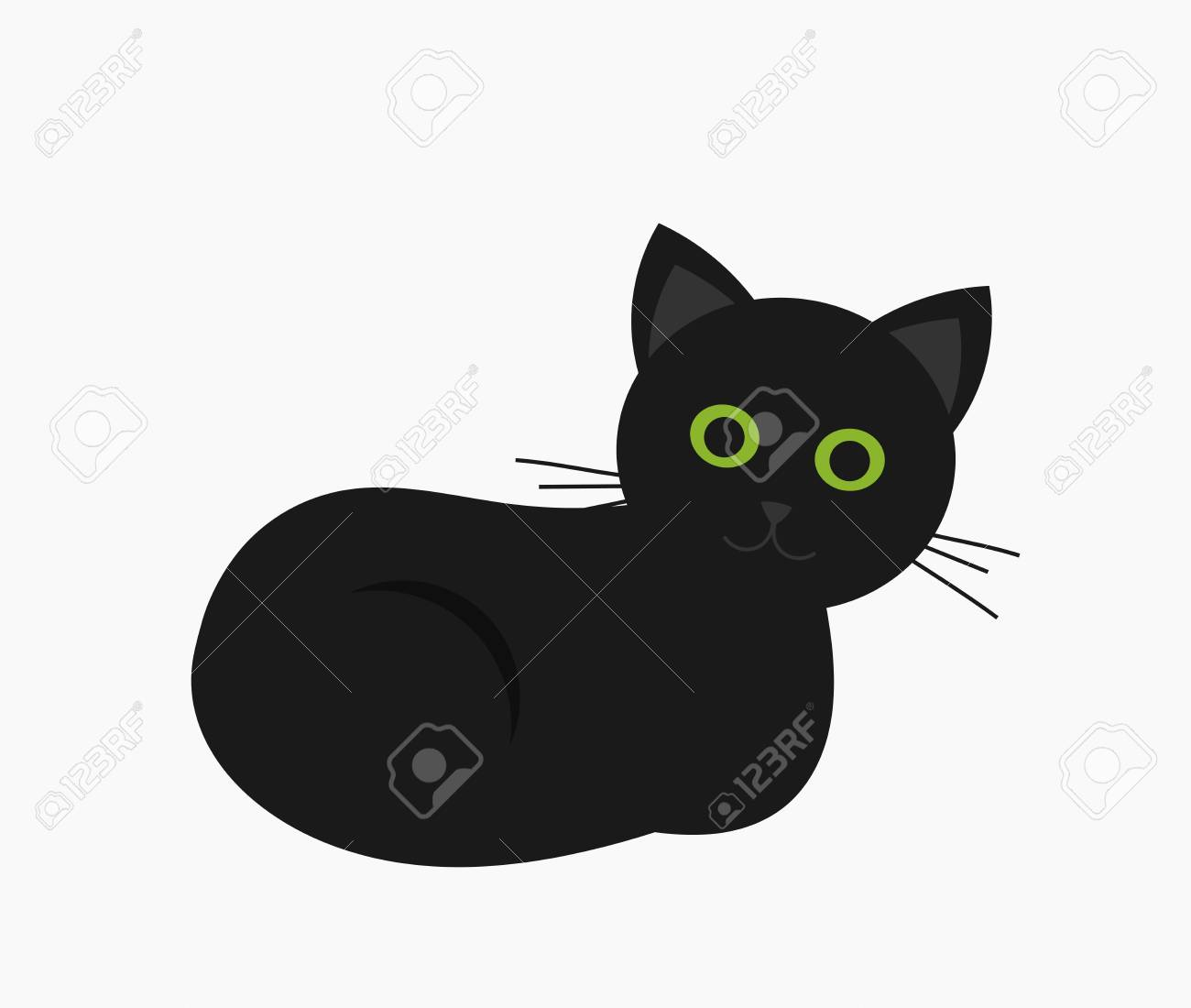 Cute Black Cat With Green Eyes Vector Illustration Royalty Free