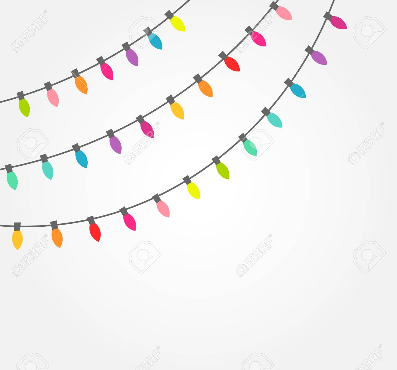 Christmas Lights Vector Free.Strings Of Colorful Decorative Christmas Lights Vector Illustration