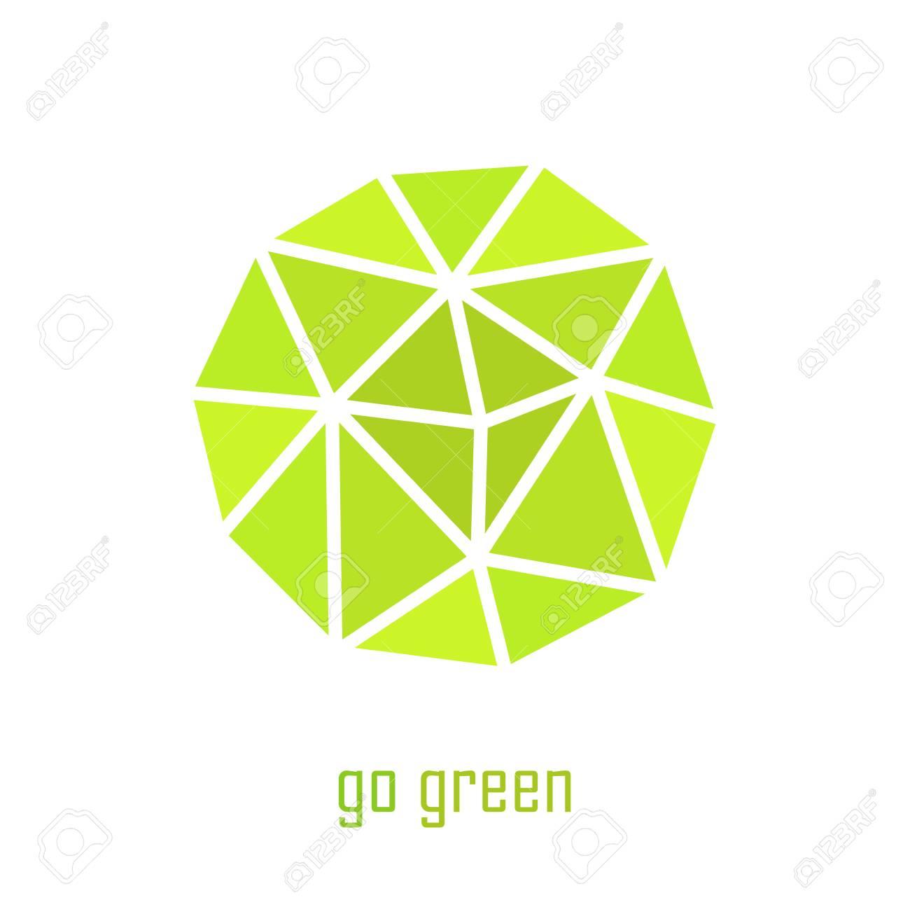 Green Spherical Go Green Symbol Vector Illustration Royalty Free