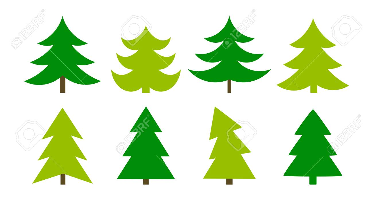 Christmas Tree Icons.Christmas Trees Icons Collection Vector Illustration