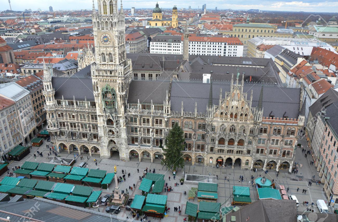 Marienplatz Weihnachtsmarkt.Munich Germany November 26 2017 Christmas Market On Marienplatz