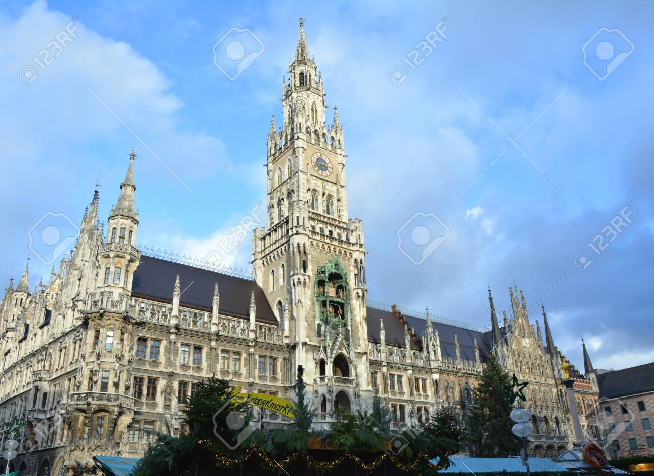 Christmas Town In Germany.Landmark Of Marienplatz New Town Hall In Old Town Munich Germany