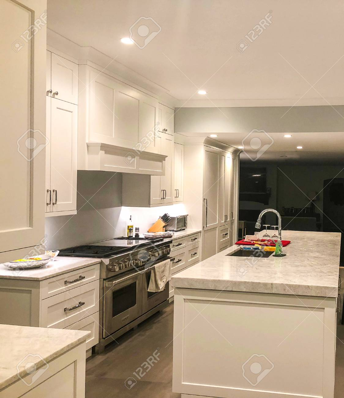 White Modern Kitchen Cabinets With Modern Appliences And Granite Stock Photo Picture And Royalty Free Image Image 113376632
