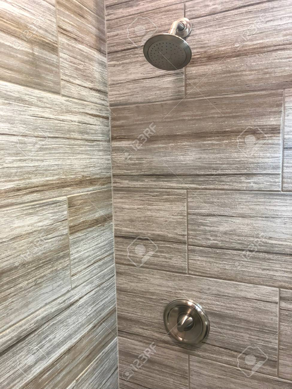Bathroom Shower With Beautiful Decorative Stone Tiles Shower