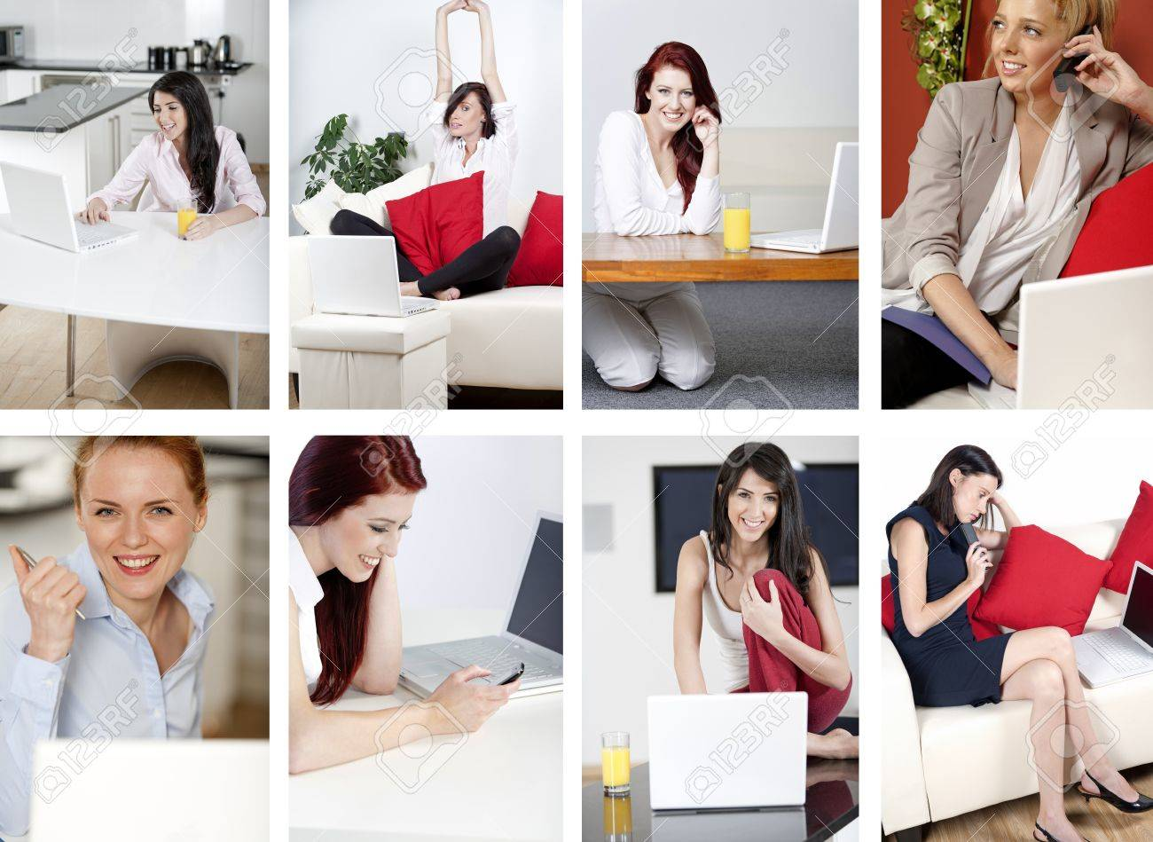 Compilation of attractive young women working from home Stock Photo - 15720404