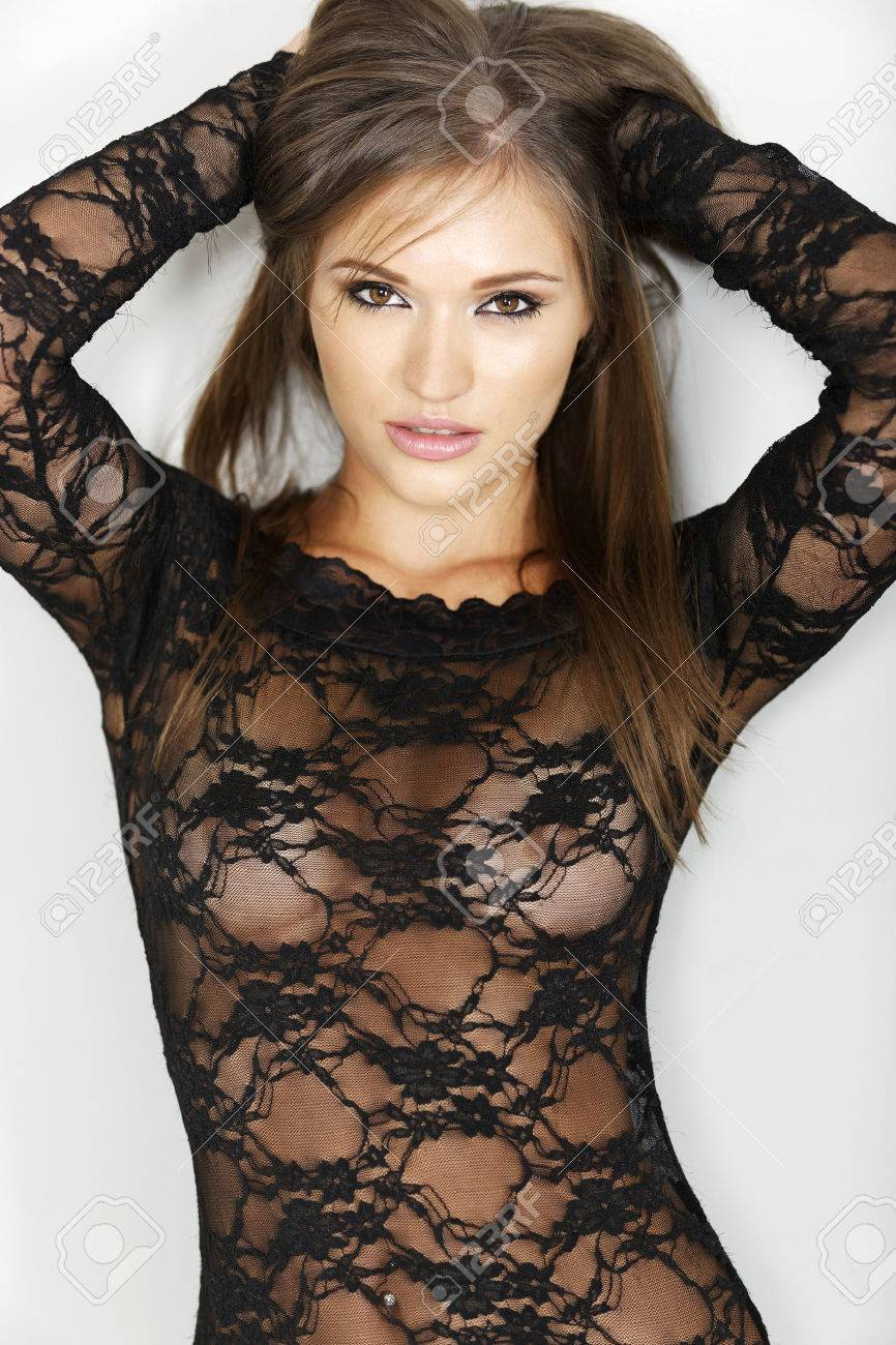 Sexy Woman In Black One Piece Lingerie Which Is Sheer Stock Photo Picture And Royalty Free Image Image 37926631