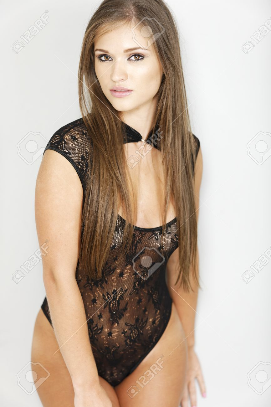 Sexy Woman In Black One Piece Lingerie Which Is Sheer Stock Photo ...