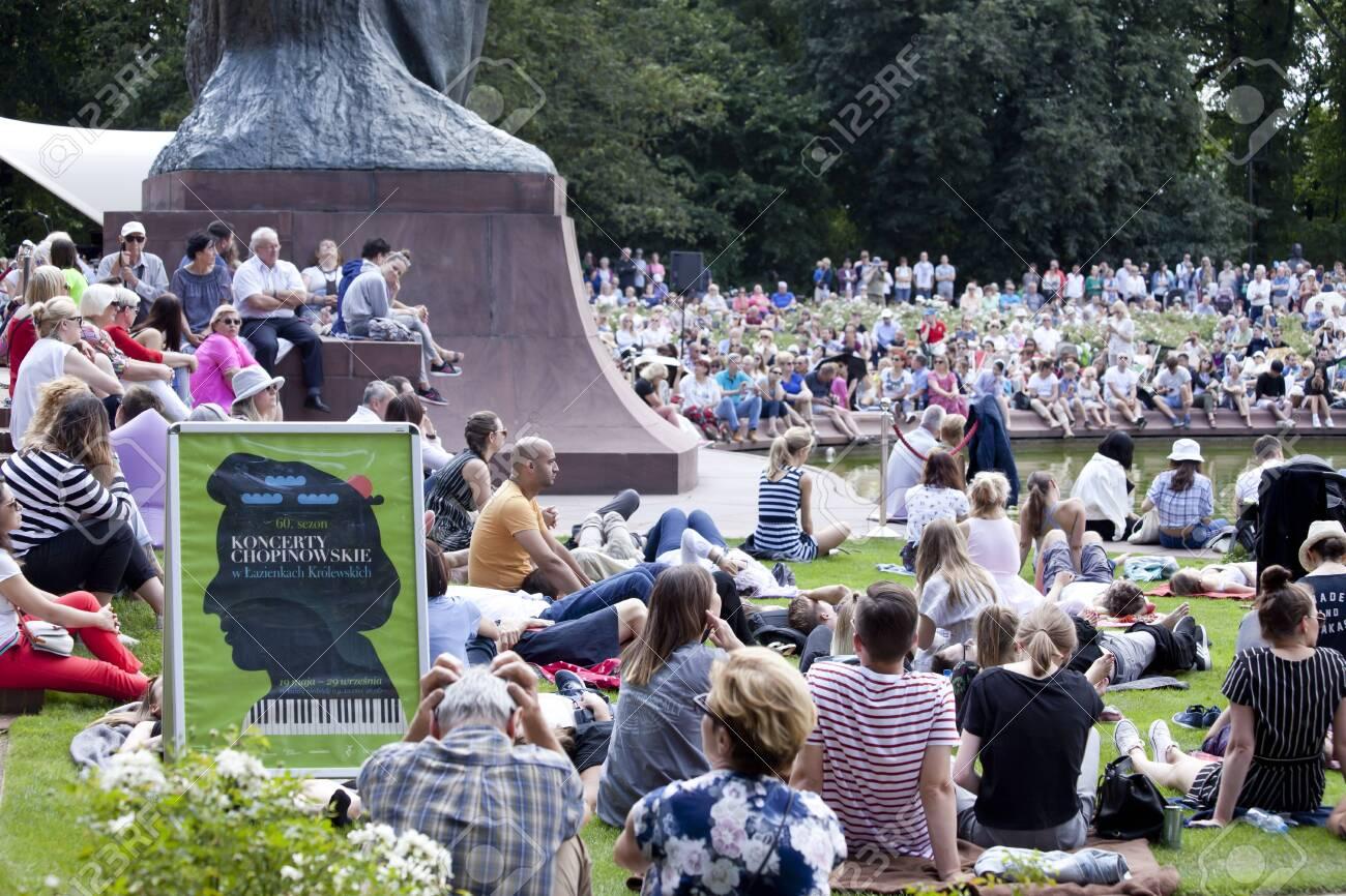 Warsaw Poland 4 August 2019 Outdoor Open Recital Of Chopins
