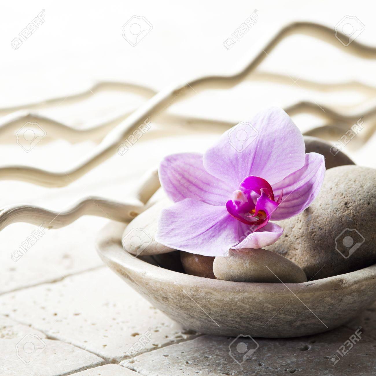 Banque d\u0027images , Zen attitude avec la coupe minérale de pierres et de  fleurs