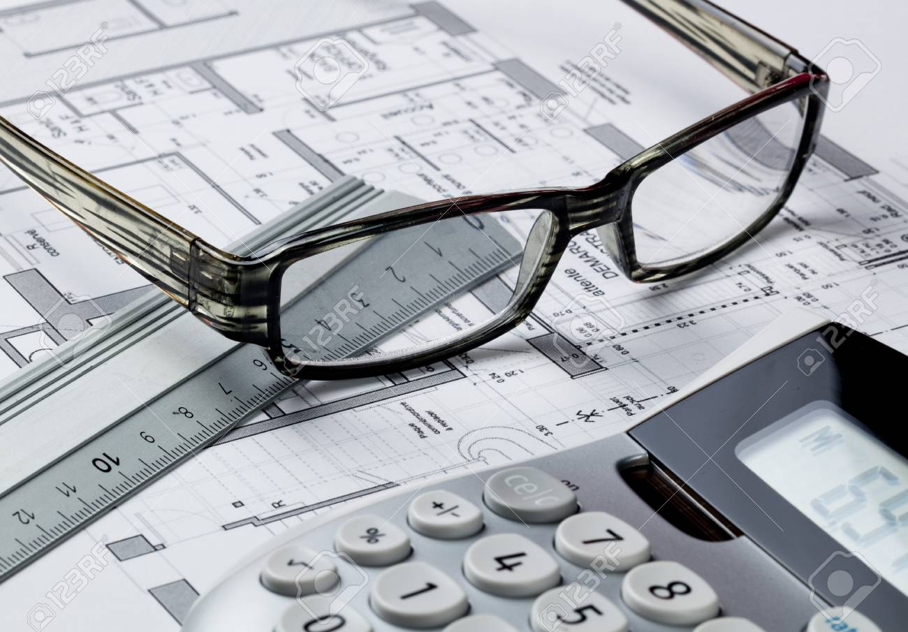 Eyeglasses cost - Stock Photo Property Design And Cost Concept With Entrepreneur Eyeglasses And Calculator On Computer Rendering