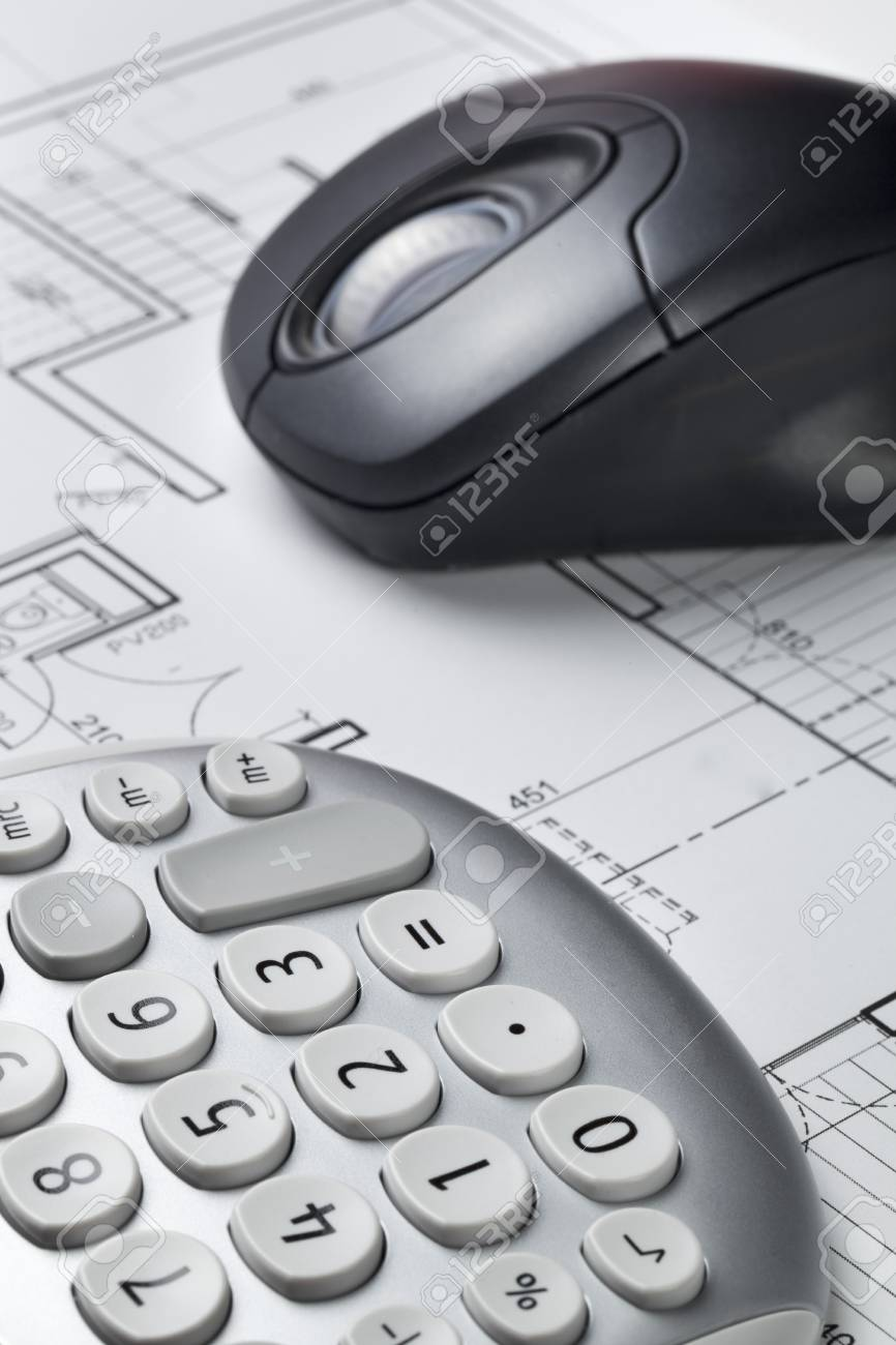 Cost efficiency and computer rendering for architect work with cost efficiency and computer rendering for architect work with blueprint and computer mouse stock photo malvernweather Gallery