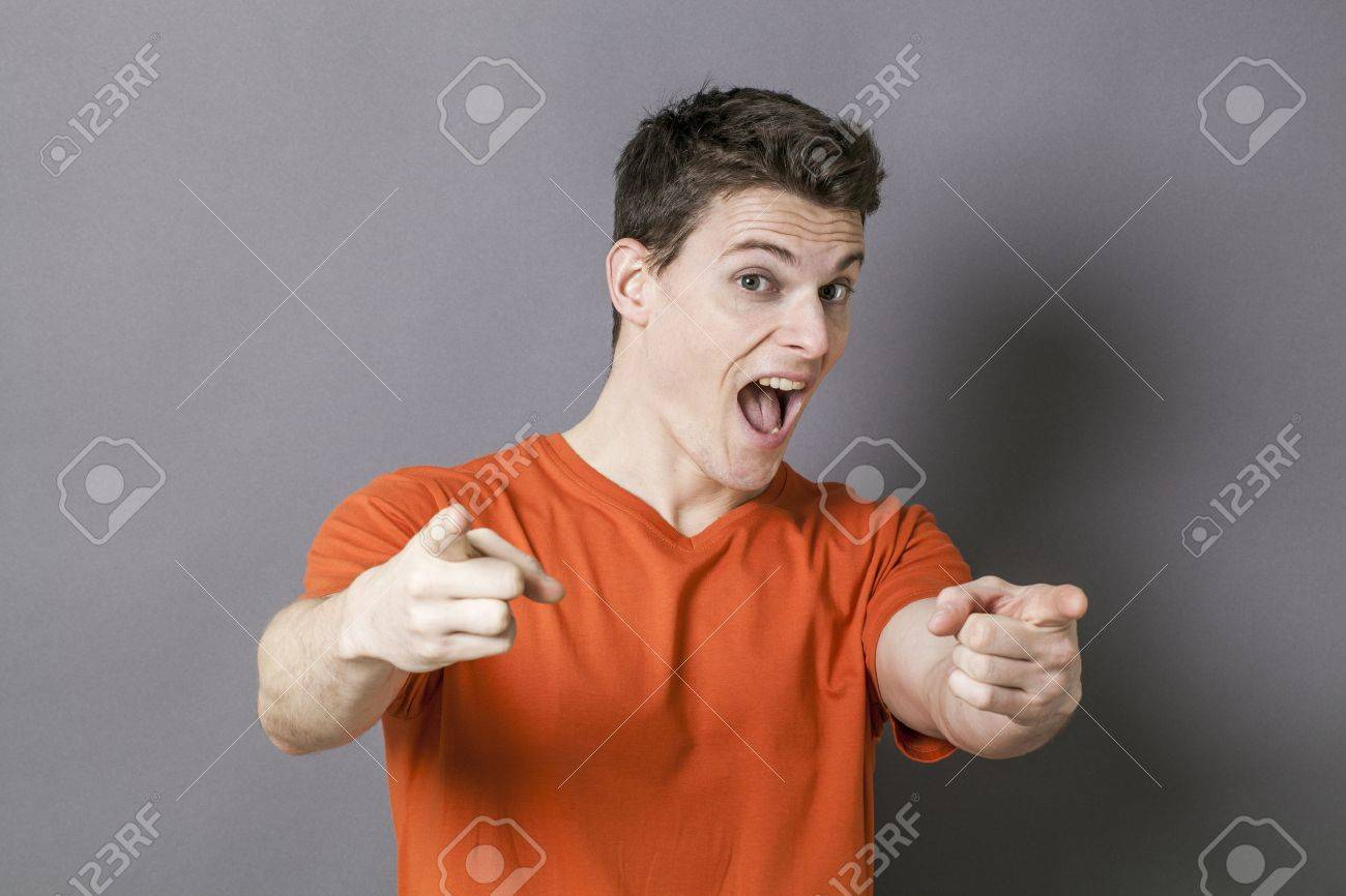 Amazement Concept Excited Handsome Young Man Showing Something