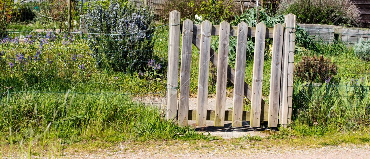 Charmante clôture en bois rustique d\'un petit jardin biologique village  pour une porte au jardinage à l\'ancienne pittoresque
