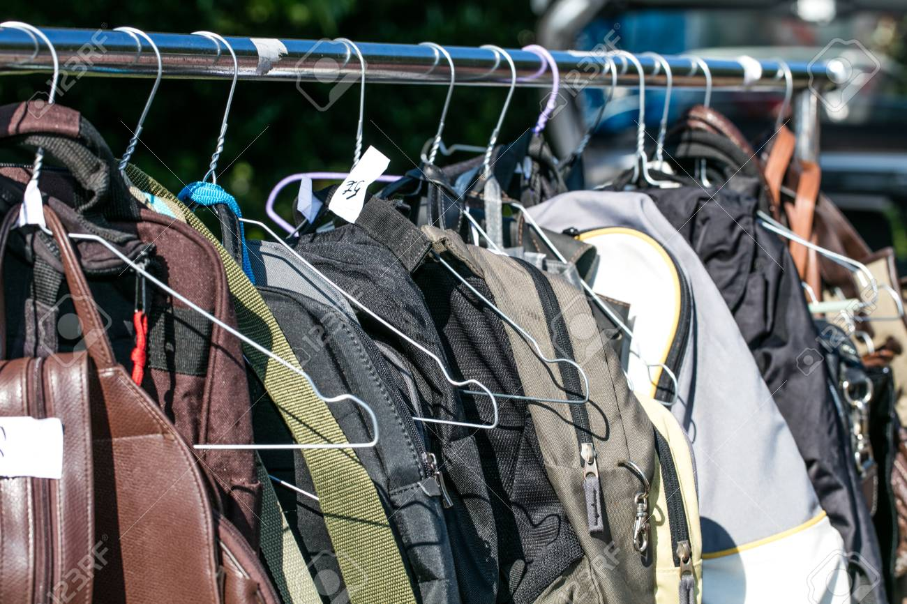 Bags And Backpack On Hanger And Rack Display At Flea Market Or ...
