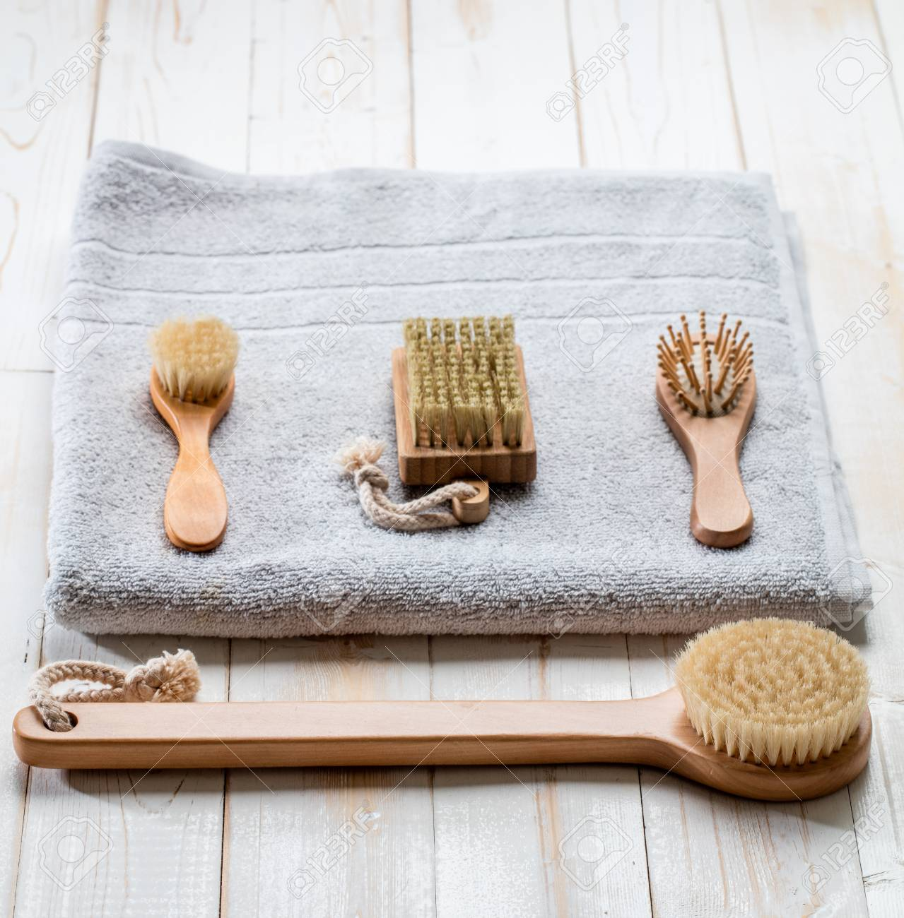 1b742f4bccc eco-friendly hygiene still life with dry brushing accessories and natural  body care products for