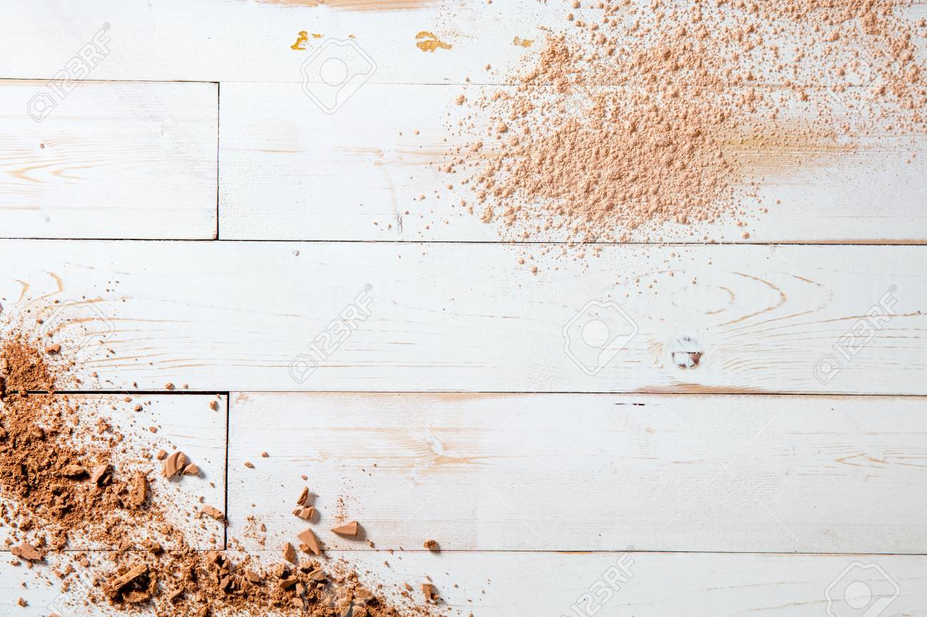 Smashed Makeup Powder On White Wooden Background For Natural Stock Photo Picture And Royalty Free Image Image 93214742