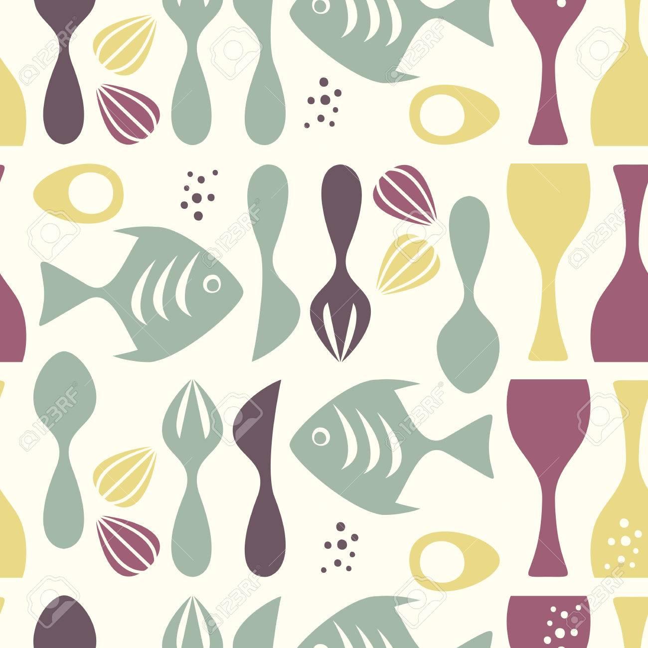 Kitchen wallpaper retro - Seamless Pattern Kitchen Retro Style Stock Vector 8506466