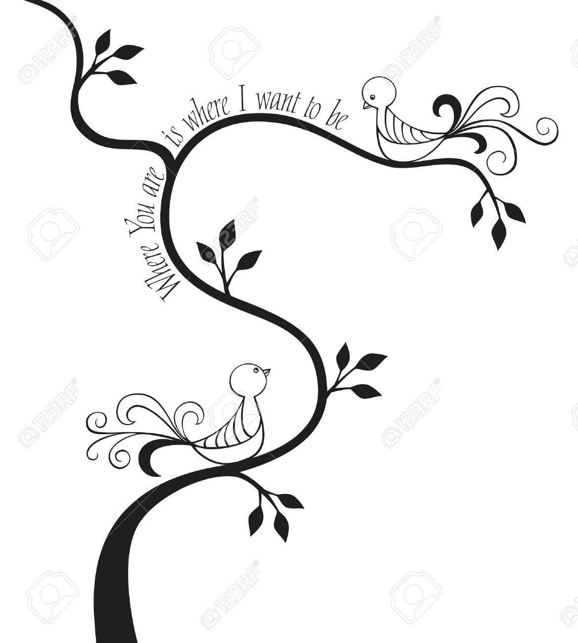 2 love birds in a tree with calligraphic text Stock Vector - 8870247