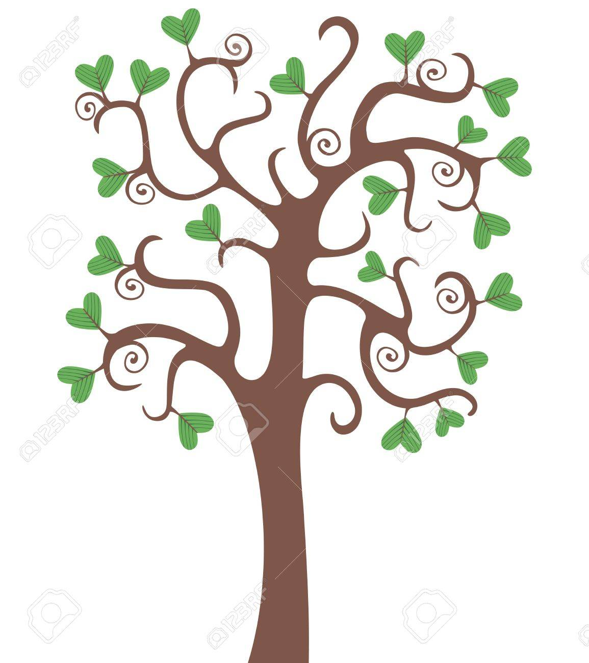 Tree with heart shaped leaves Stock Vector - 9514851