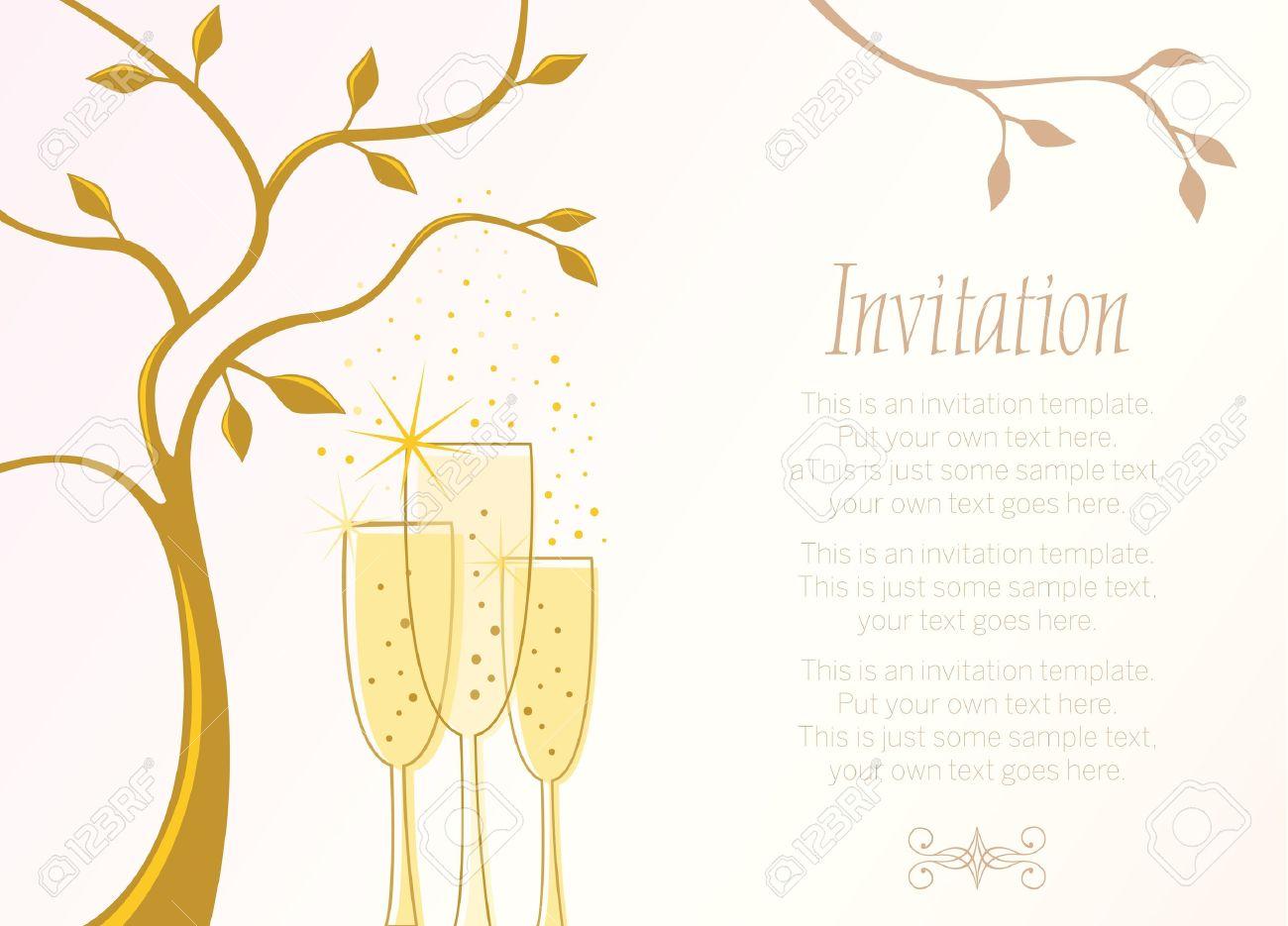 Elegant invitation template with champagne glasses and place elegant invitation template with champagne glasses and place for text stock vector 13621372 stopboris Gallery