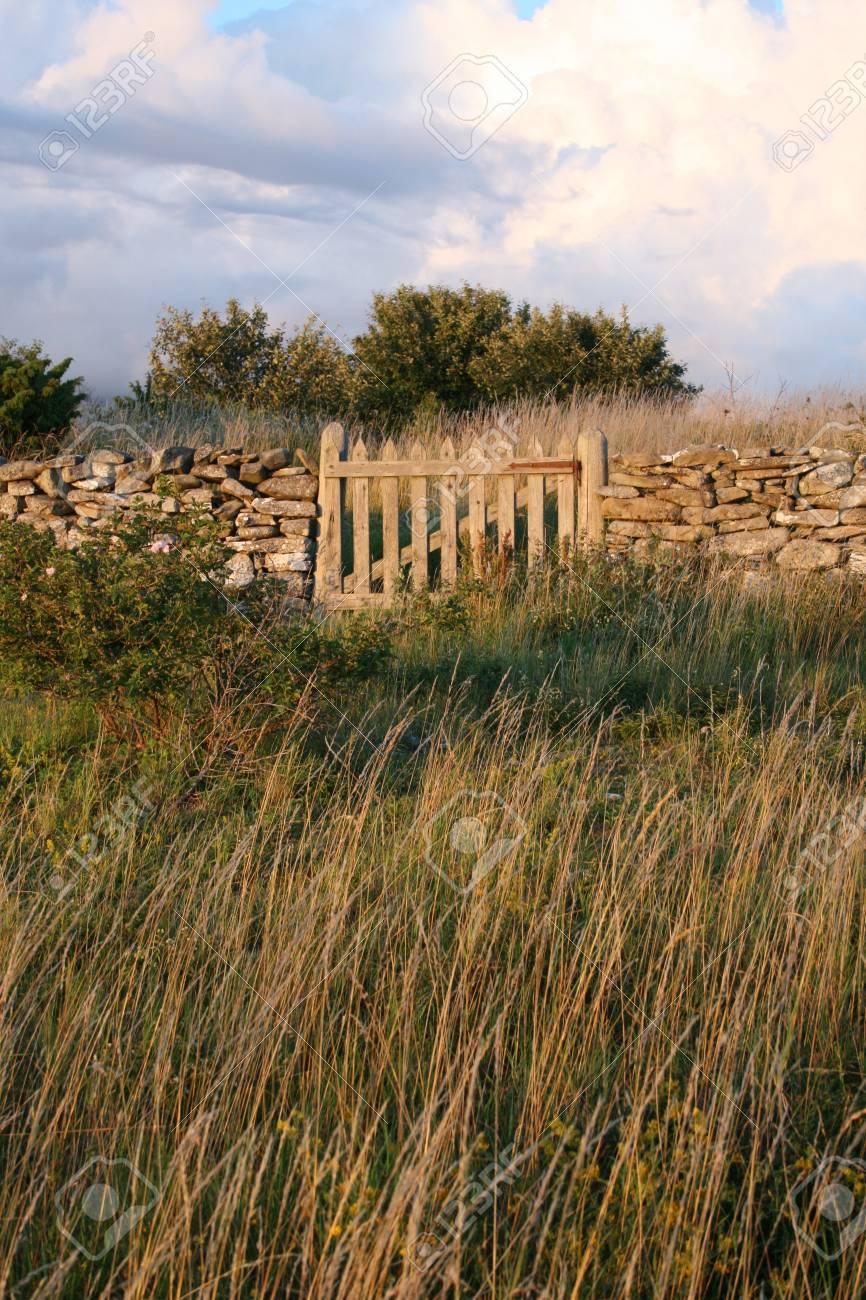 Vieux Portail En Bois vieux mur de pierre agricole avec portail en bois, en suède