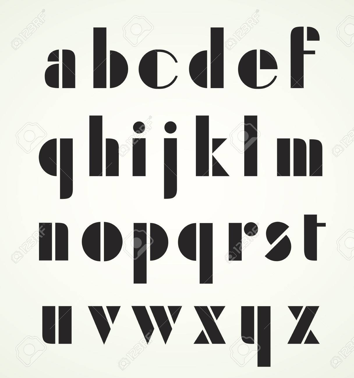geometric retro art deco minuscule alphabet use the letters for titles headlines etc stock