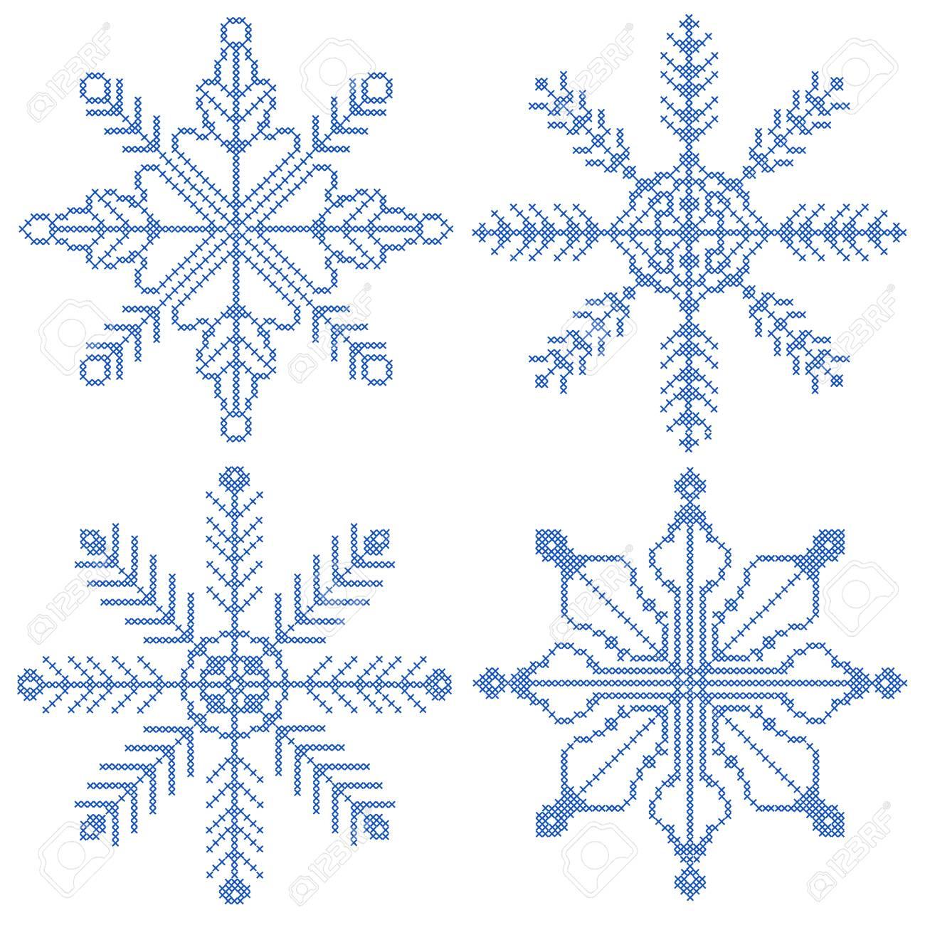 Colección De 4 Copos De Nieve En Punto De Cruz Ilustraciones ...