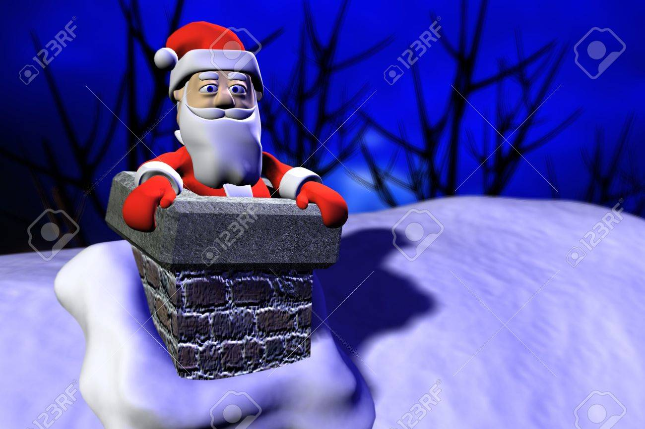 Santa just going out from the chimney Stock Photo - 6009136