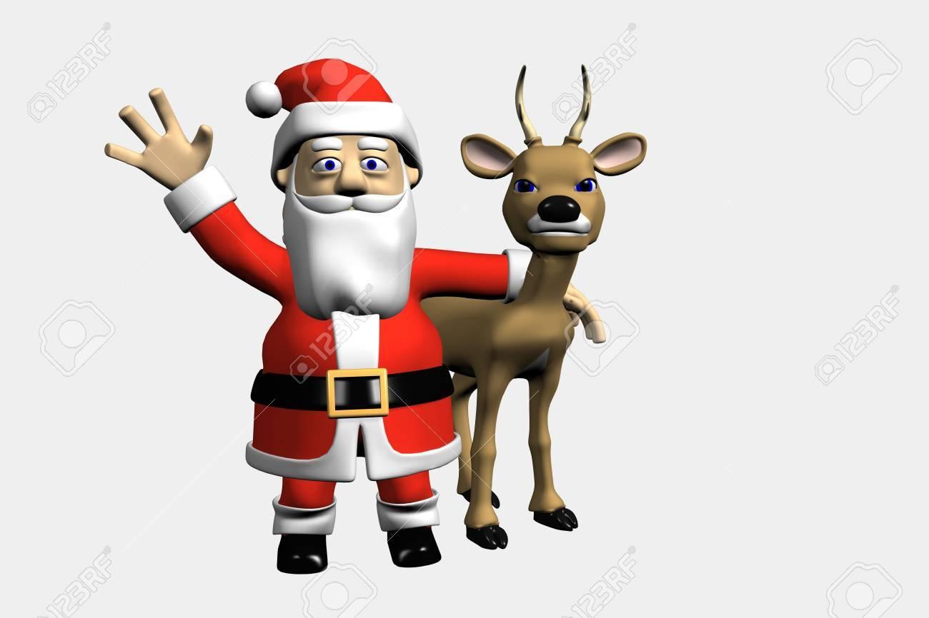 Santa waves and a deer Stock Photo - 6009129