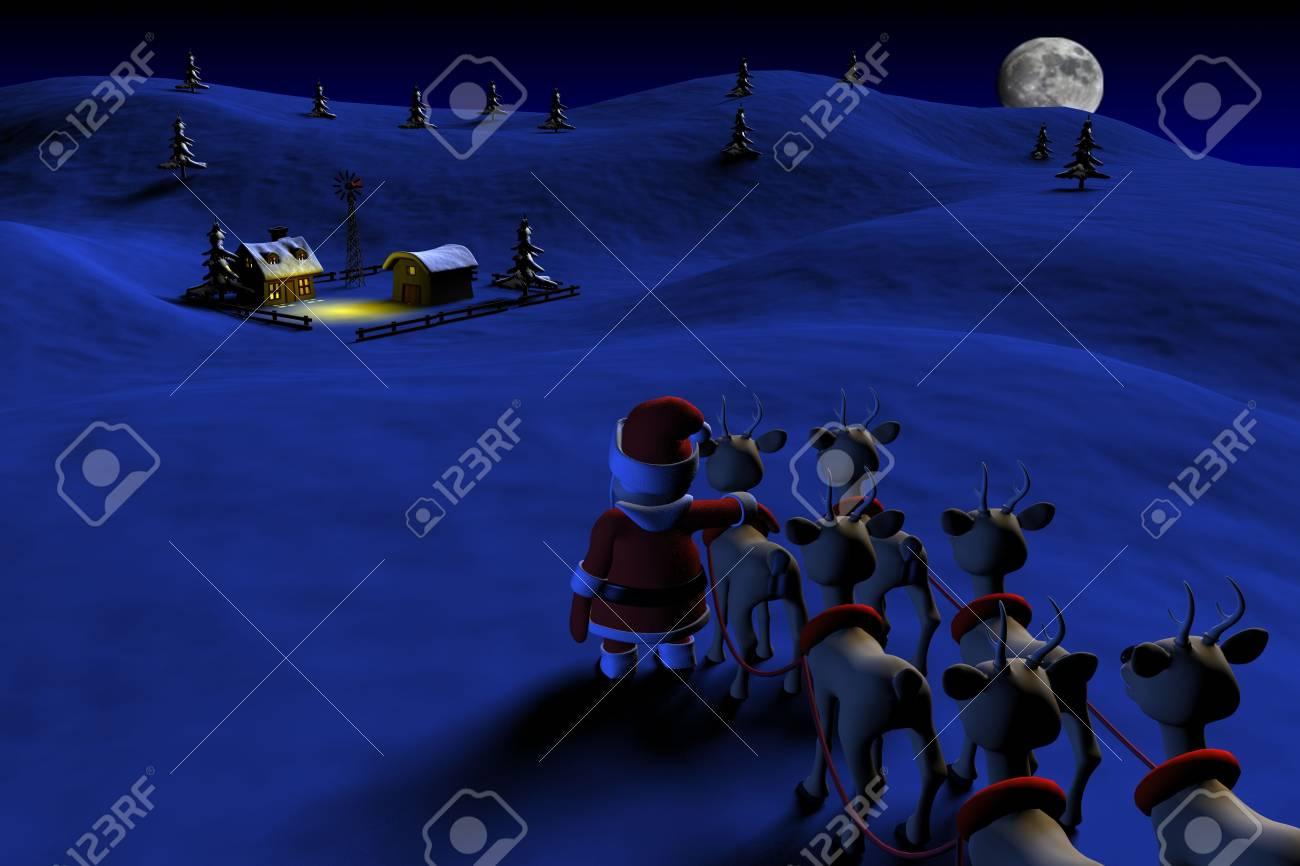 Santa is going to a farm house Stock Photo - 6009131
