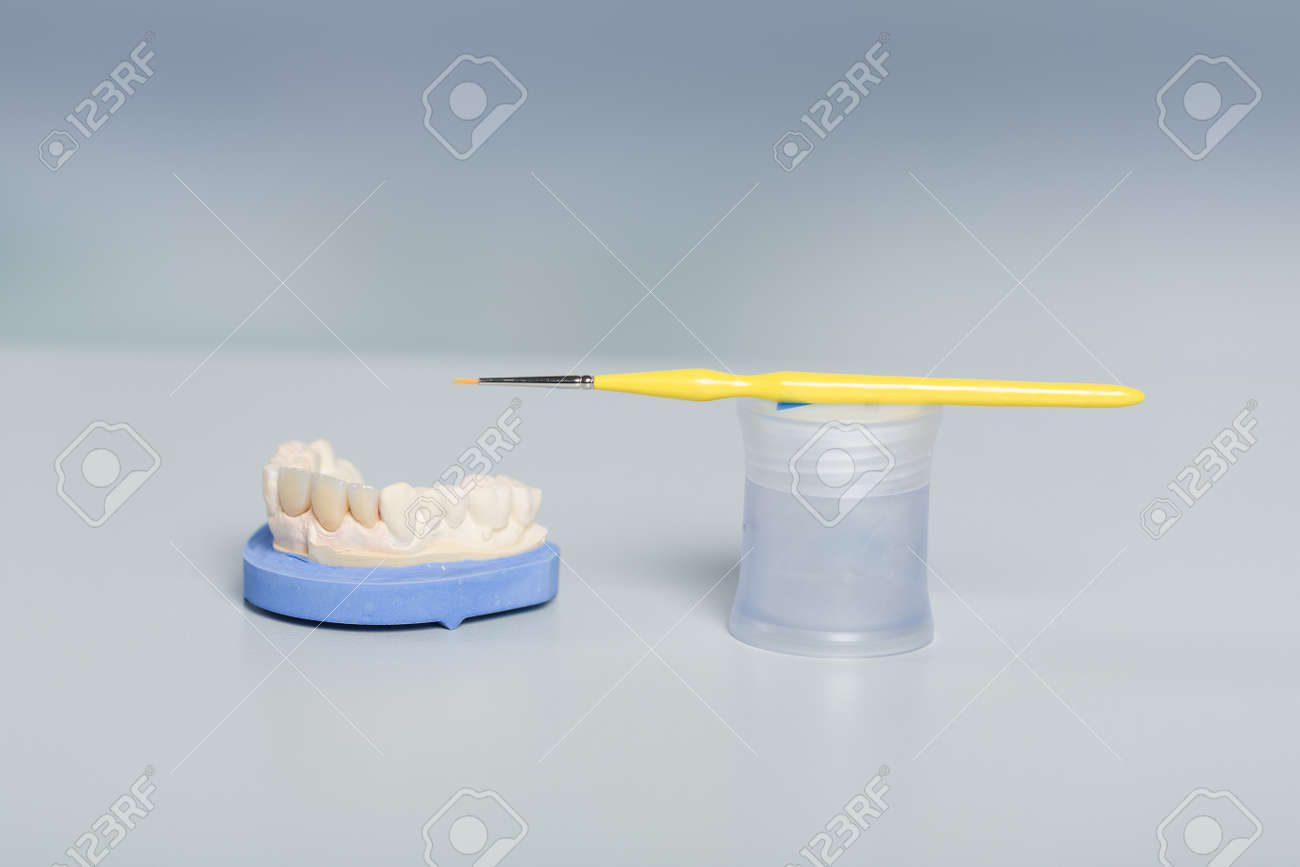 Close up of tools for painting work on artificial dentition and dental imprint in a dental laboratory - 159688734