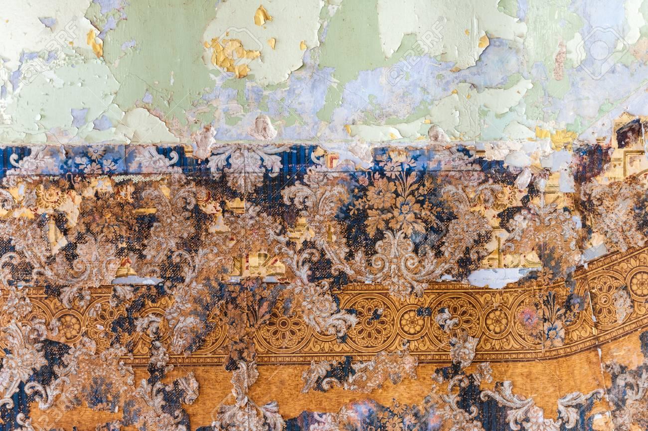 Vintage Texturen: Alte Tapeten, Peeling Farbe, Mauer Und Schichten Von  Verschiedenen Bunten Hintergründen