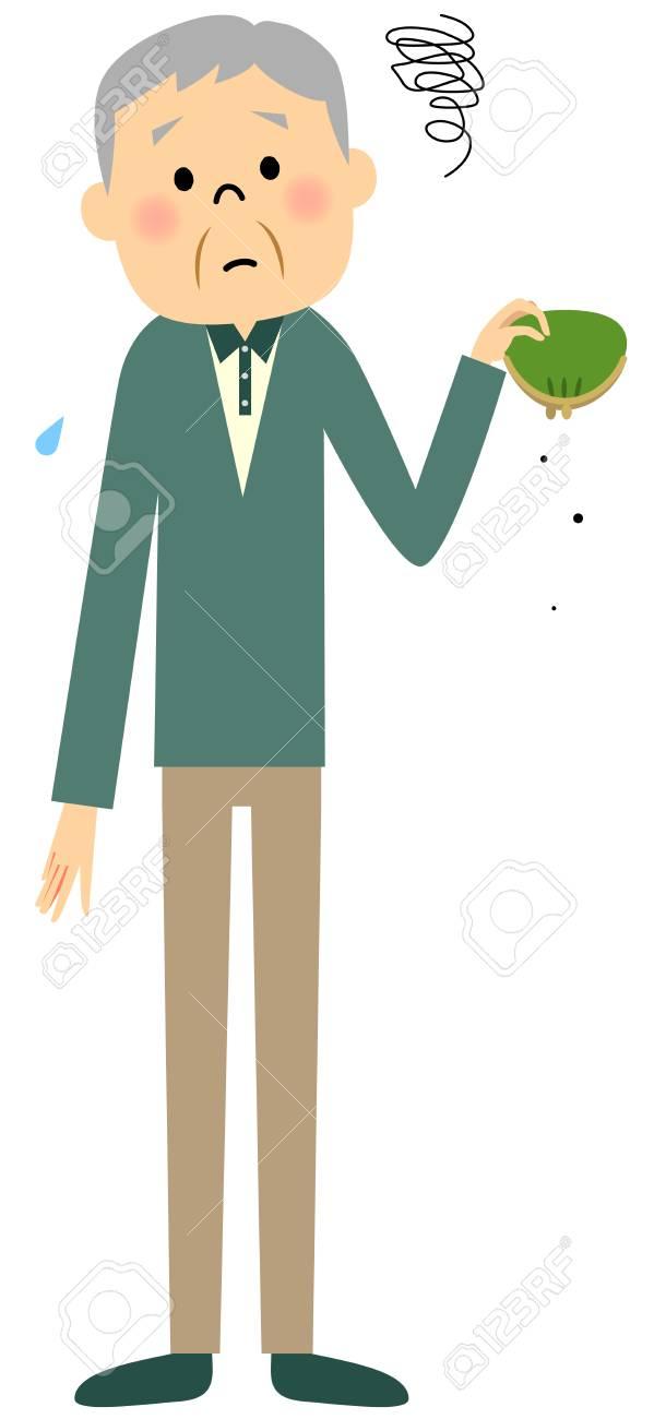 高齢のおじいちゃんがすっからかんのイラスト素材・ベクタ - Image ...