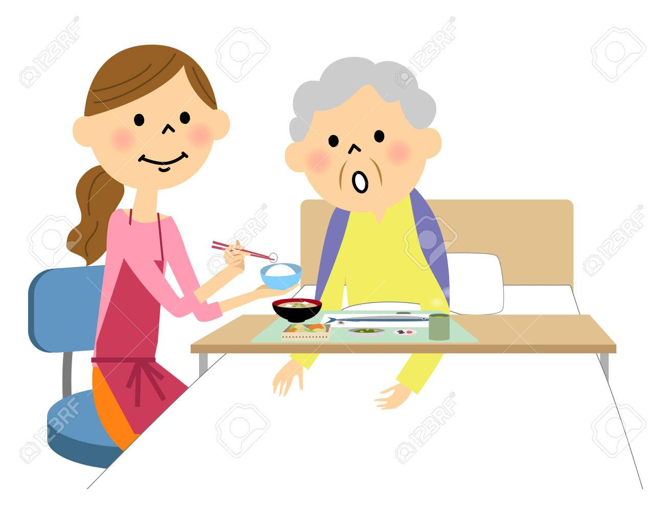 The elderly lady assisted by a meal nurse - 72361592