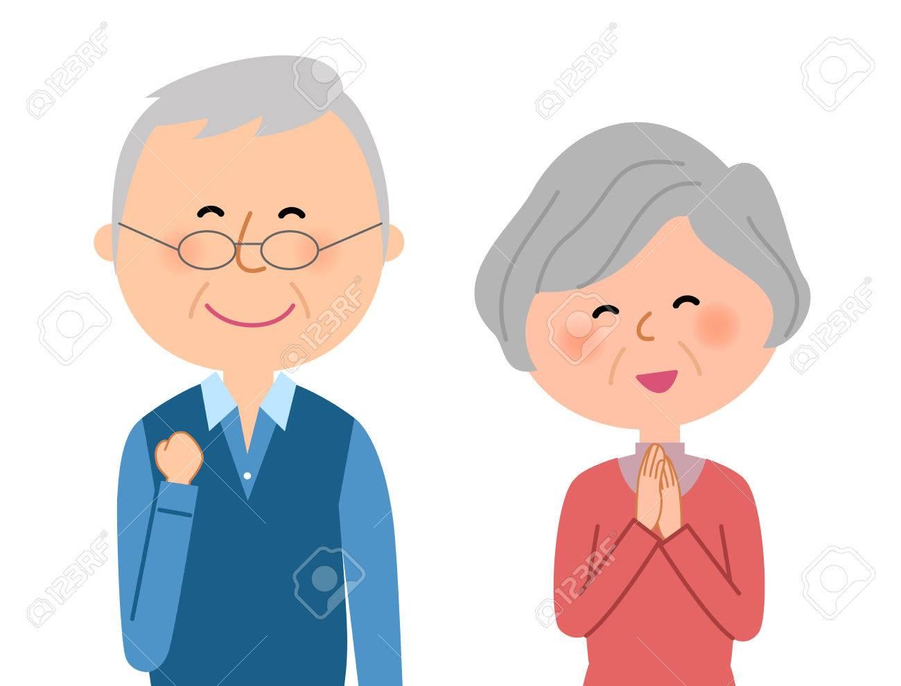 Happy elderly couple - 77878402