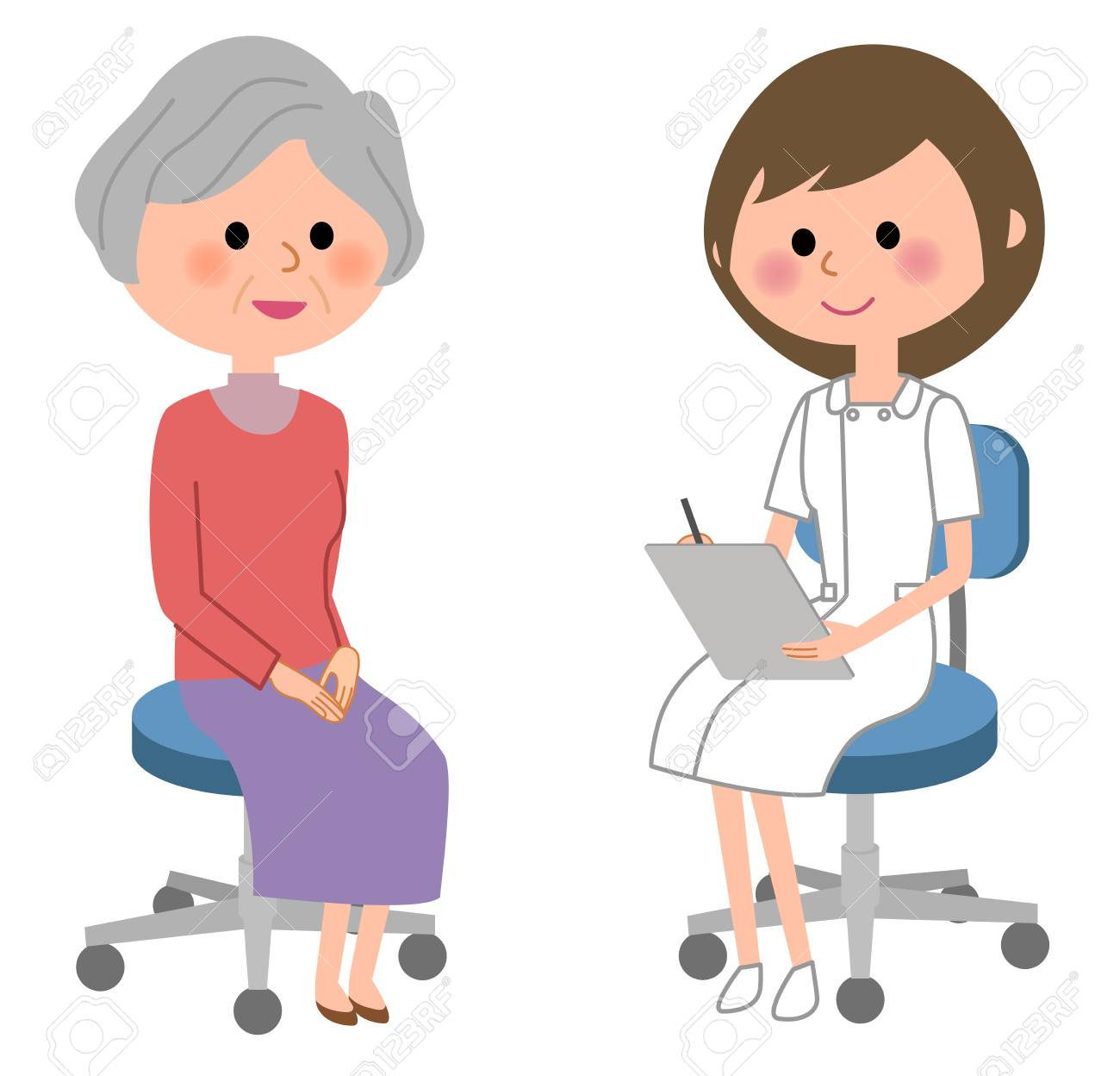 Nurse consult a patient on white background, vector illustration. - 88620442