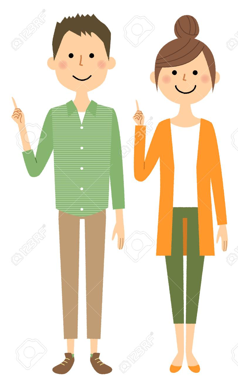 Young couple, Finger pointing - 95002508