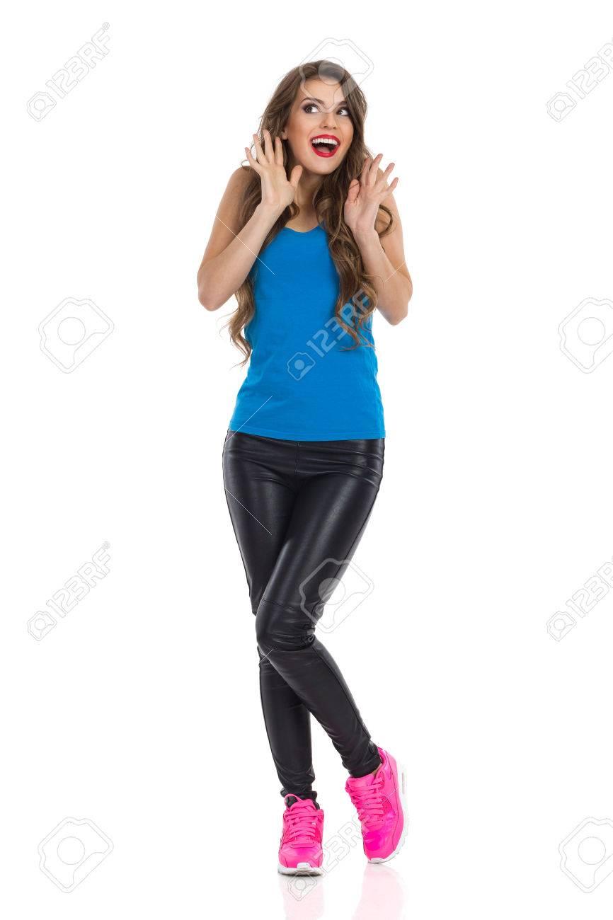 Noir Chemise Pantalon Et BleueUn Cuir Des Femme En Jeune Excité BrCWdexo