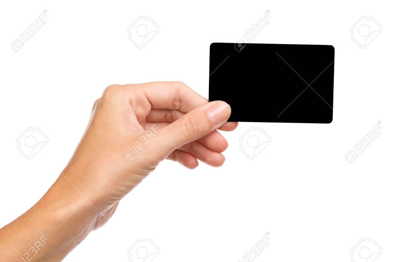 schwarze karte Schließen Sie Der Frau Die Hand Nach Oben Hält Leere Schwarze