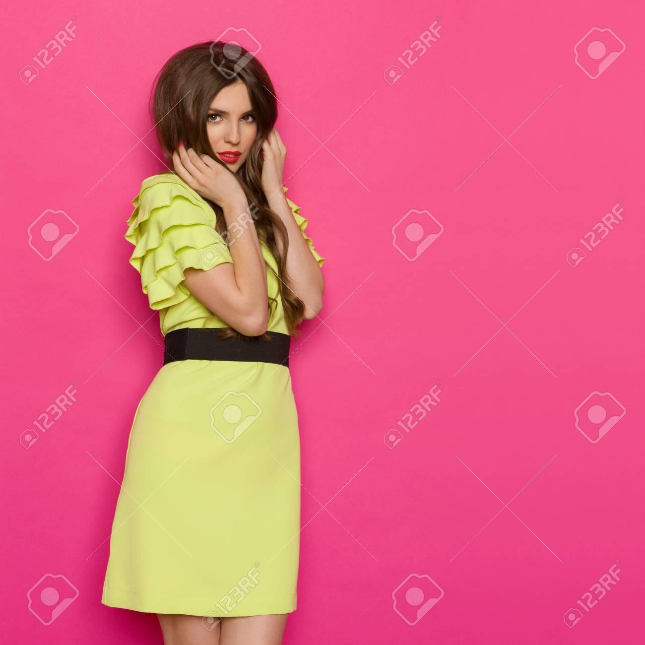 Lujo Vestidos De Dama De Color Amarillo Y Verde Foto - Colección de ...