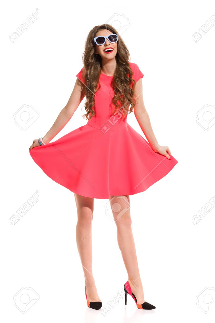 Pink Mini Dress, Blue Sunglasses