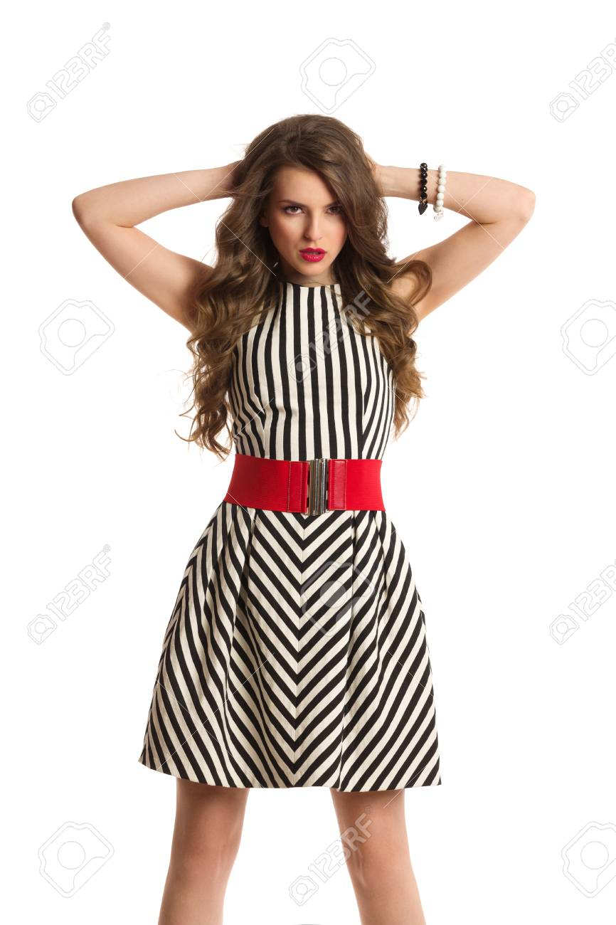 2bbfad1d2f42 Ladies Wearing Black And White Striped Dress