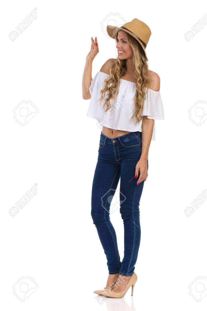 Chapeau Chemise De Blanche Et Jeans Paille Femme En Blond Jeune wS0gtt