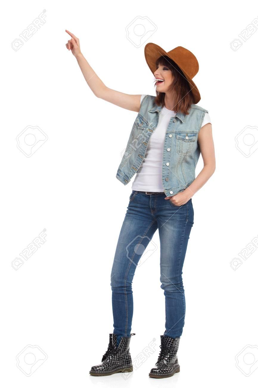Cappello Jeans Di In Giovane E Neri Gilet Pelle Donna Stivali qqwHA8