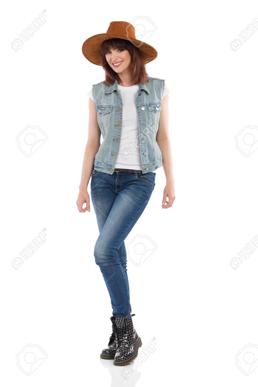 Stivali In Gilet Donna Di Cappello Jeans Giovane Neri Sbottonato E SFwxY7W5q
