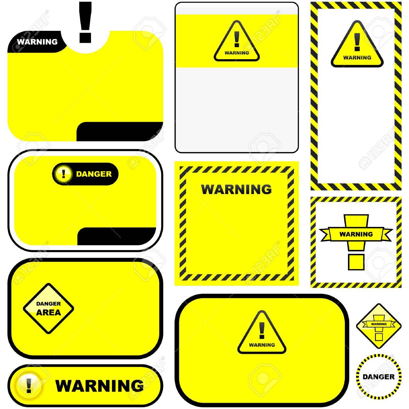 Warning vector label. Vector template. Stock Vector - 6084081