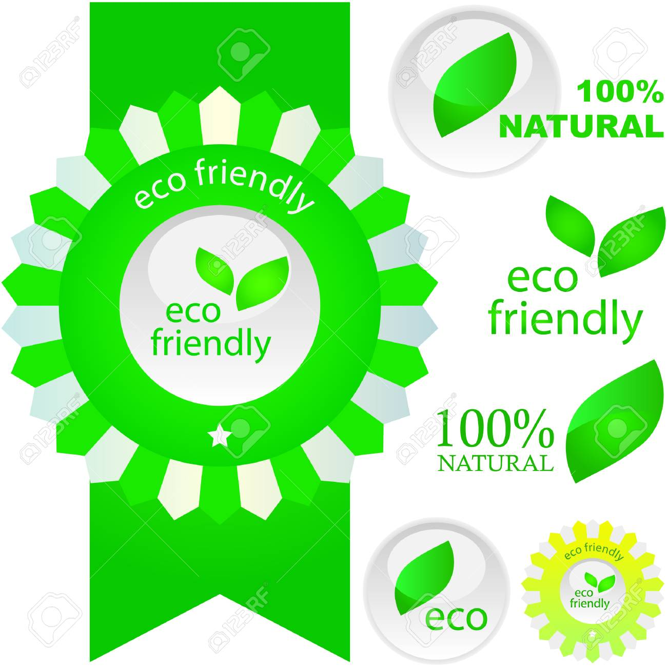Set of eco friendly, natural and organic labels. Stock Vector - 6084932