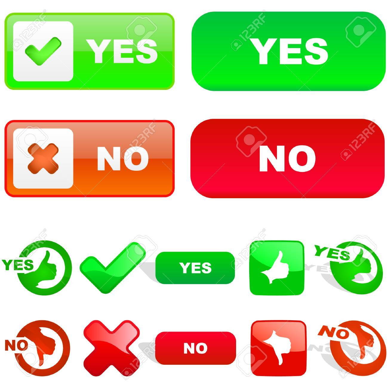 Yes and No icon. Vector beautiful icon set. Stock Vector - 6095303