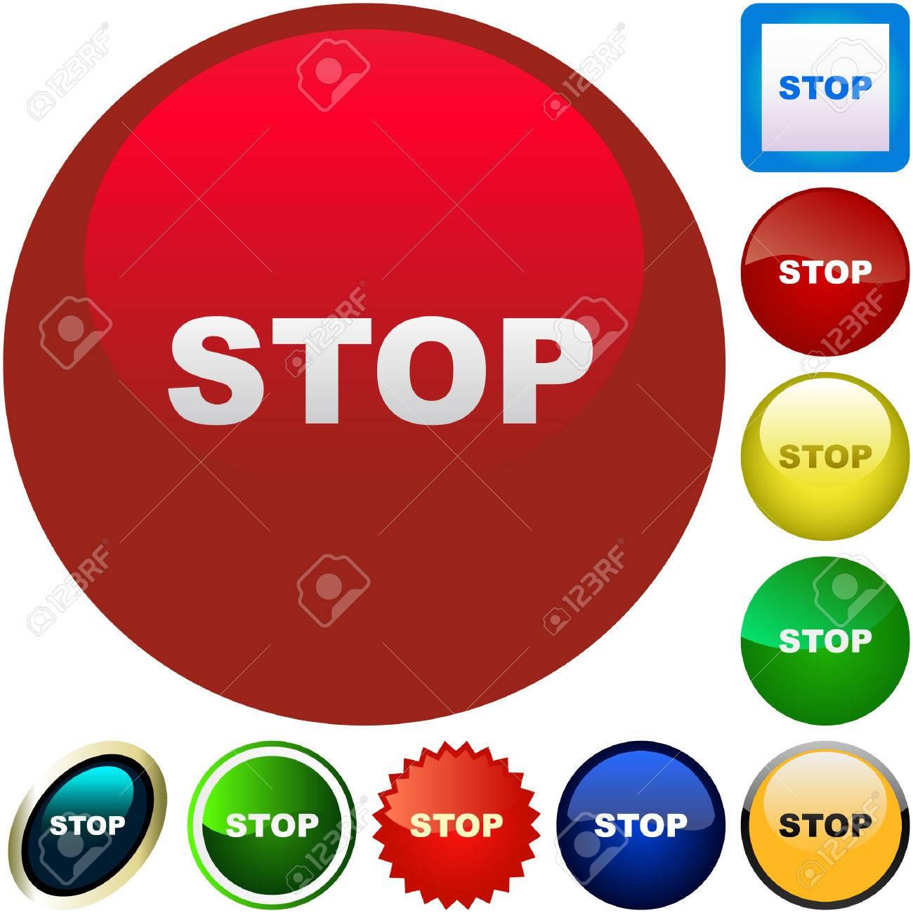 Stop button. Vector set for web. Stock Vector - 6097886