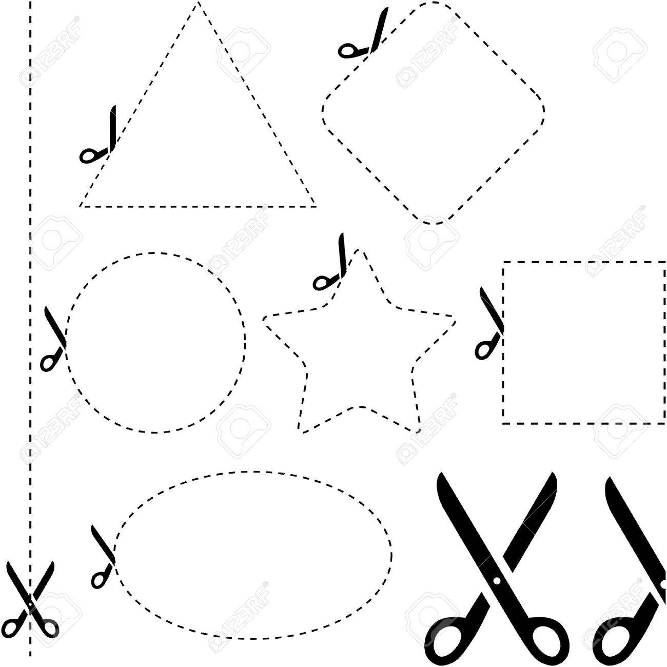 Vector scissors with cut lines templates to choose from Stock Vector - 6549236